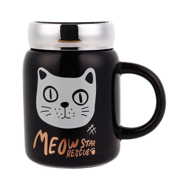 Czarny Kubek Ceramiczny Z Zakrętką 480 Ml Kot Bl1 Kawa I Herbata