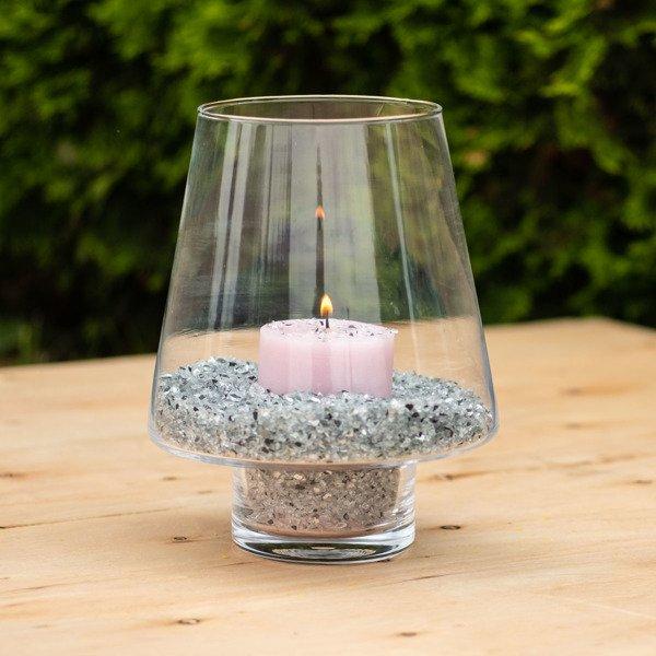 Wazon Szklany świecznik Lampion 23cm 23cm Dom Art
