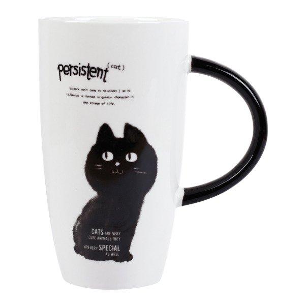 Wysoki Kubek Ceramiczny 620 Ml Czarny Kot Nr 1 K1 Kawa I Herbata